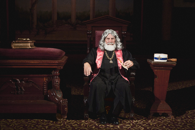 Ill. Bro. Ed Perlman, 33°, as Sovereign Grand Commander, Albert Pike.